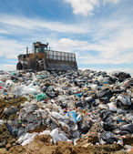 The bulldozer on a garbage dump — Stock Photo