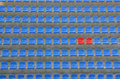 Blue and red seats — Stock Photo
