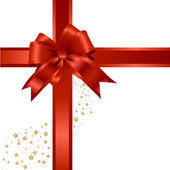 Red gift, ribbon, bow — Stock vektor