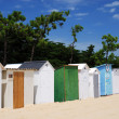 Coloured Beach huts under the sunlight — Stock Photo