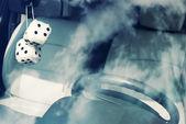 Fuzzy white dice — Stock Photo