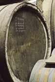 Writing on Barrel of wine — Stock Photo