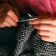 Knitting hands - Stock Photo