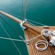 Stock Photo: Ropes and deck on blue