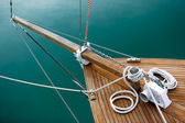 Ropes and deck on blue — Stock Photo