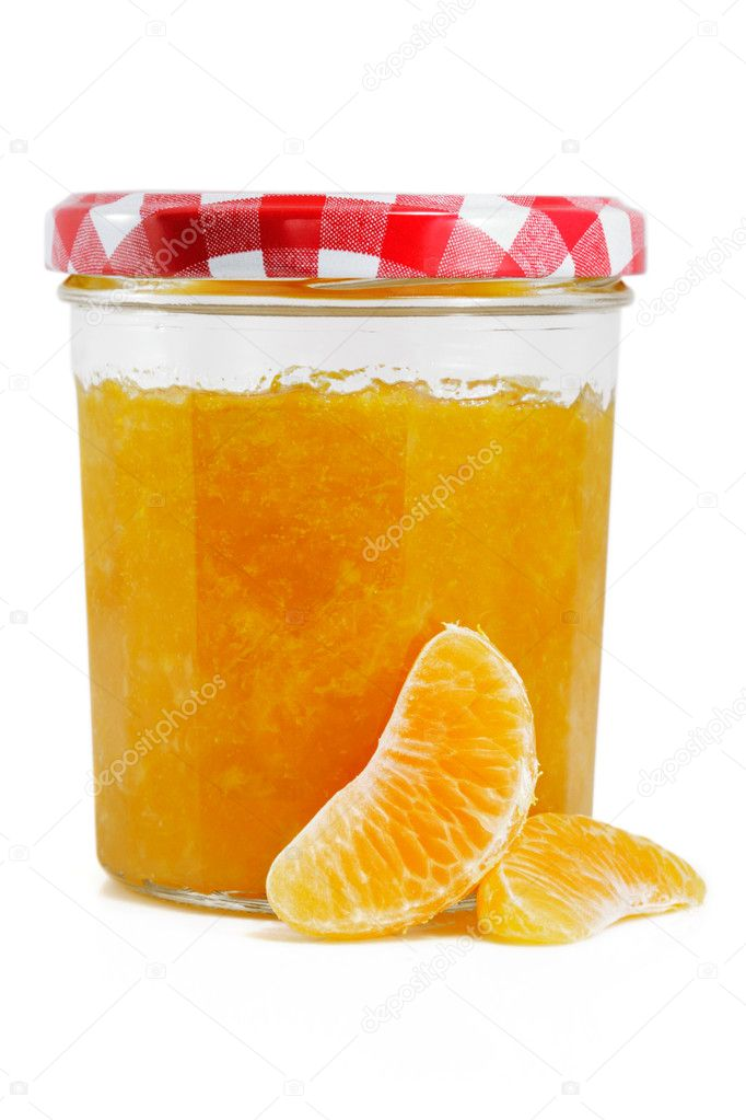 Tangerine and Orange jam isolated on white — Stock Photo #2387170