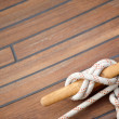 Stock Photo: Sailing knot on wooden floor