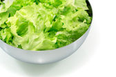 Salad leaves in a metal bowl — Stock Photo