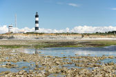 Lighthouse and semaphore at low tide — Stock Photo