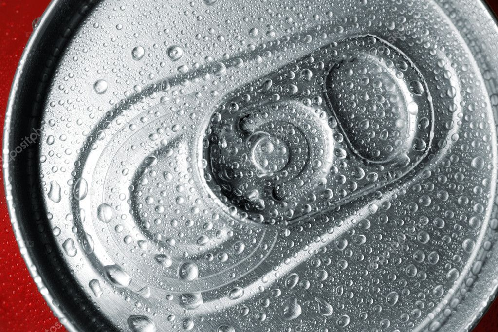 Close-up view of the top of a canned drink with condensation. — Stock Photo #2399317