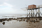 Hut at low tide — Stockfoto