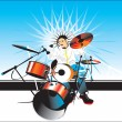 Stock Vector: Drummer solo vector