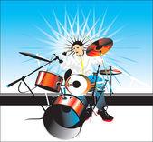 Drummer solo vector — Stock Vector