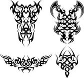 Set of 4 tribal tattoos — Stock Vector