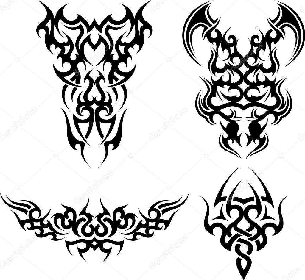 Tribal-Tattoos depositphotos_2537328-stock-illustration-set-of-4-tribal-tattoos