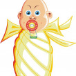 Wrapped baby illustration - Stock Vector