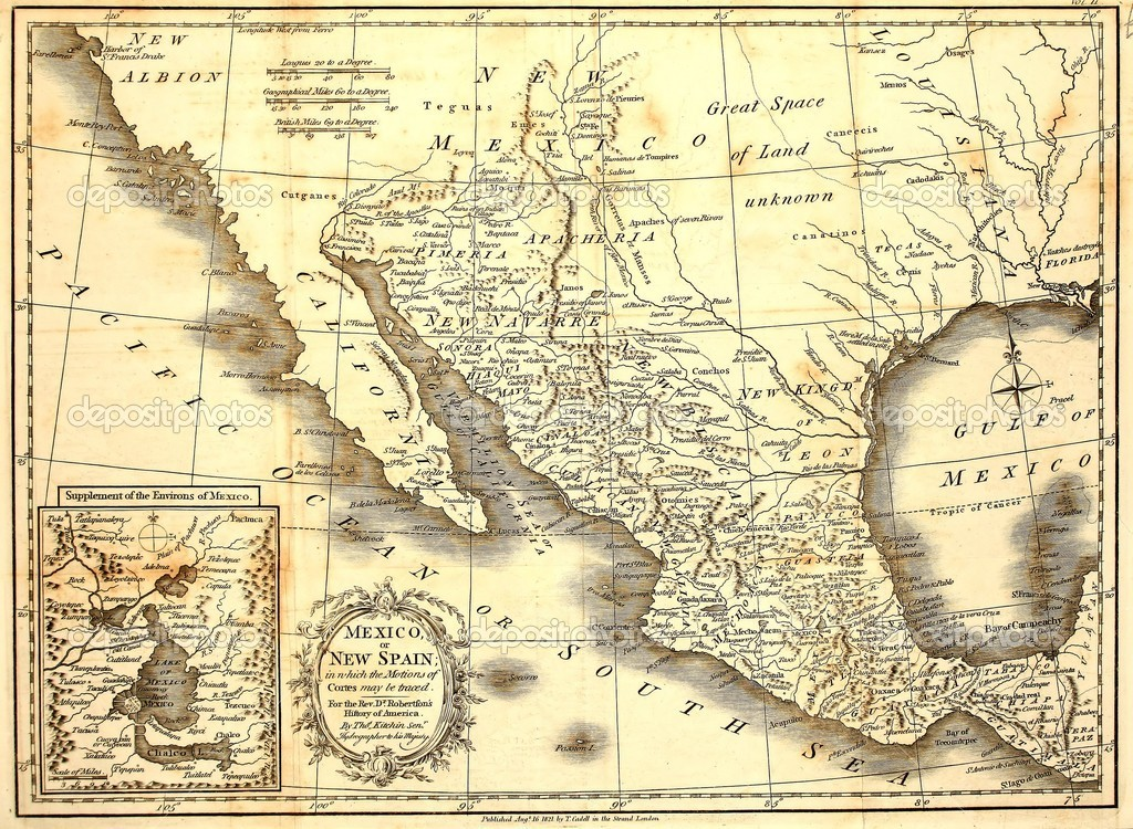 Early and original map of Mexico, printed in London, 1821. — Stock Photo #2105360