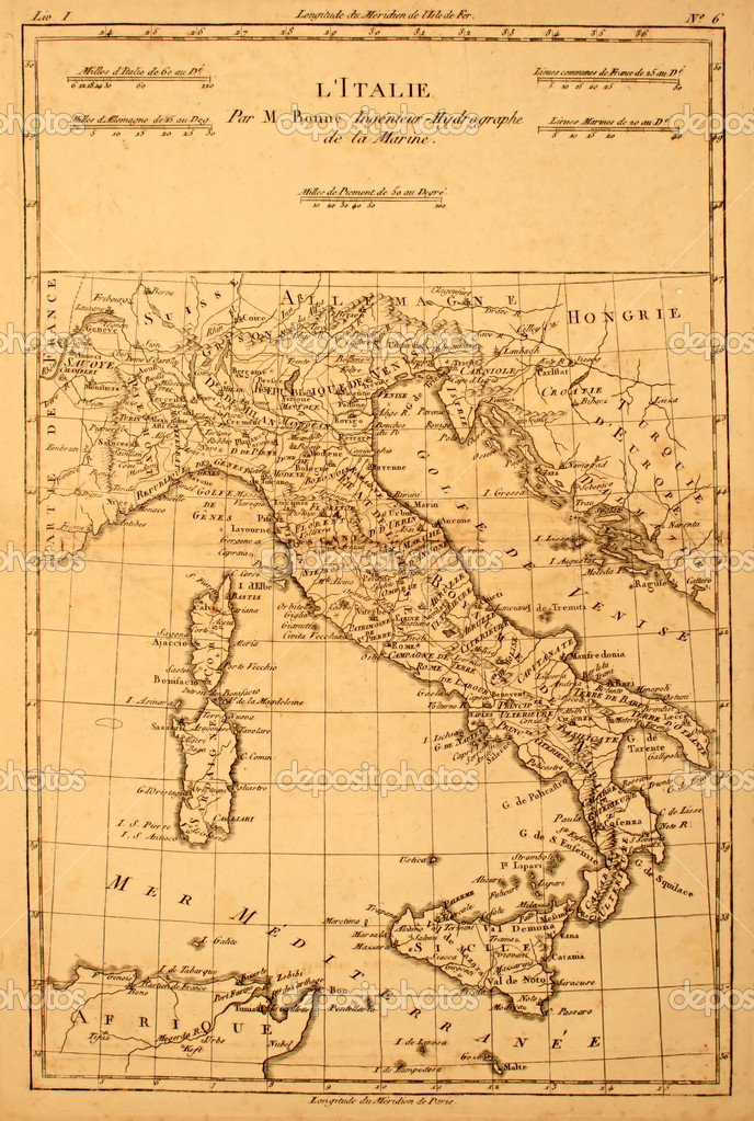 Antique and original map of Italy printed in 1780. — Stock Photo #2169568