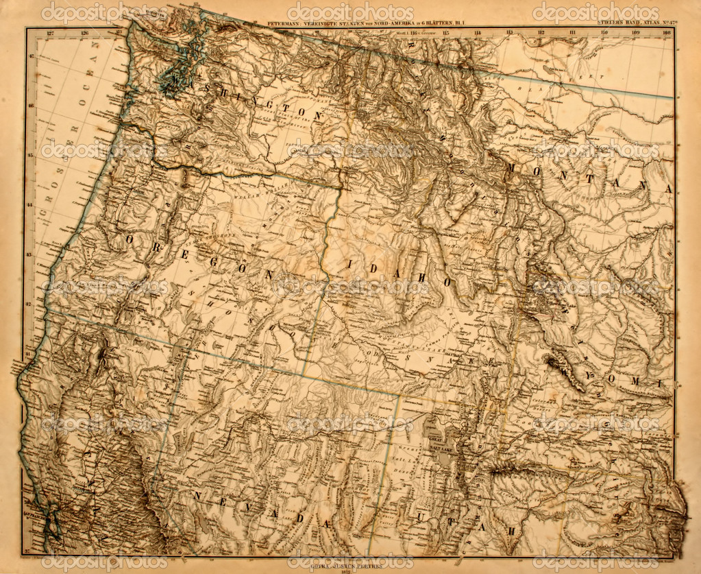 Antique original map of America's Pacific Northwest printed in 1875 — Stockfoto #2169593