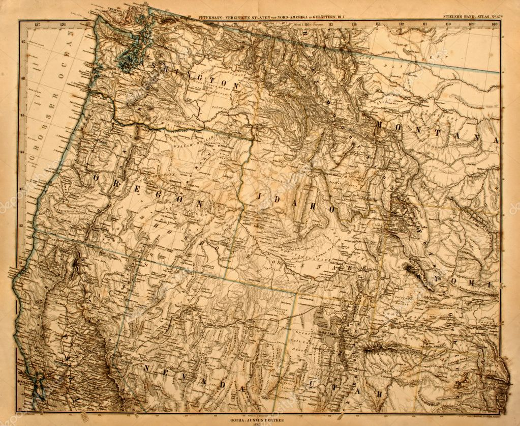 Antique original map of America's Pacific Northwest printed in 1875 — Stok fotoğraf #2169593
