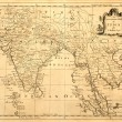 Old Map of India and Southeast Asia - Stock Photo