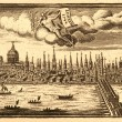 Ancient skyline view of London England.. - Stock Photo