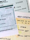 Collection of Commercial Bank Checks. — 图库照片