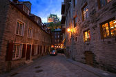 Scena di strada cobbleston a quebec city — Foto Stock
