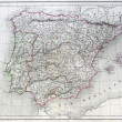 Antique map of Spain and Portugal. — Stock Photo