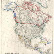 19th Century Map of North America — 图库照片