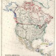 19th Century Map of North America — ストック写真