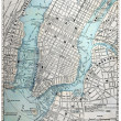 Stock Photo: Old Street Map of New York City.