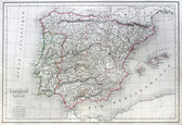 Antique map of Spain and Portugal. — 图库照片