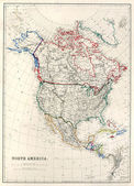 19th Century Map of North America — Stock fotografie