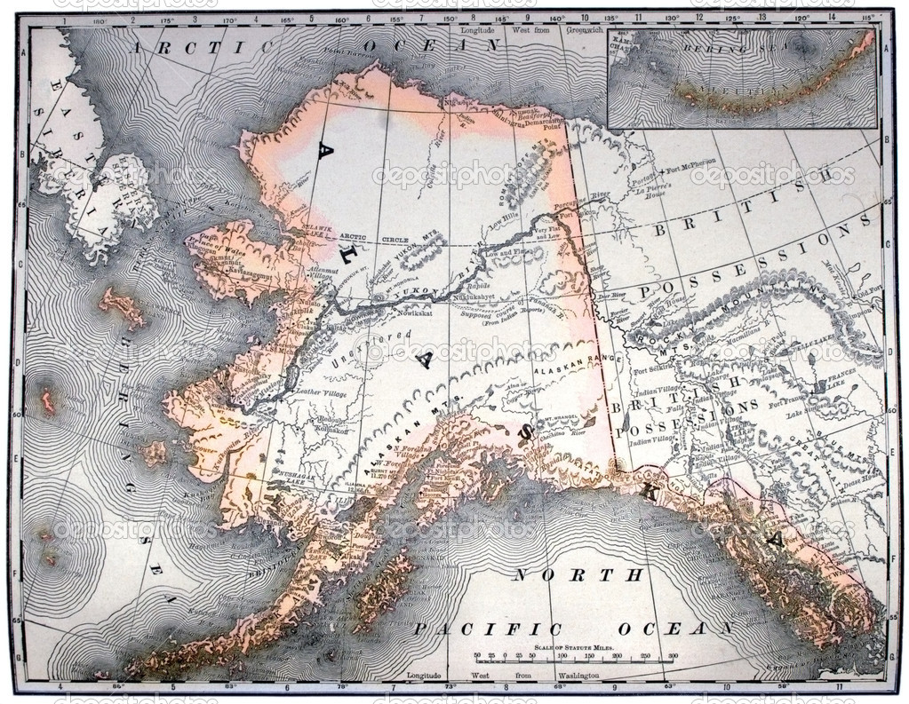 Vintage original map of Alaska, line-colored, dated 1889.  Stock Photo #2305652