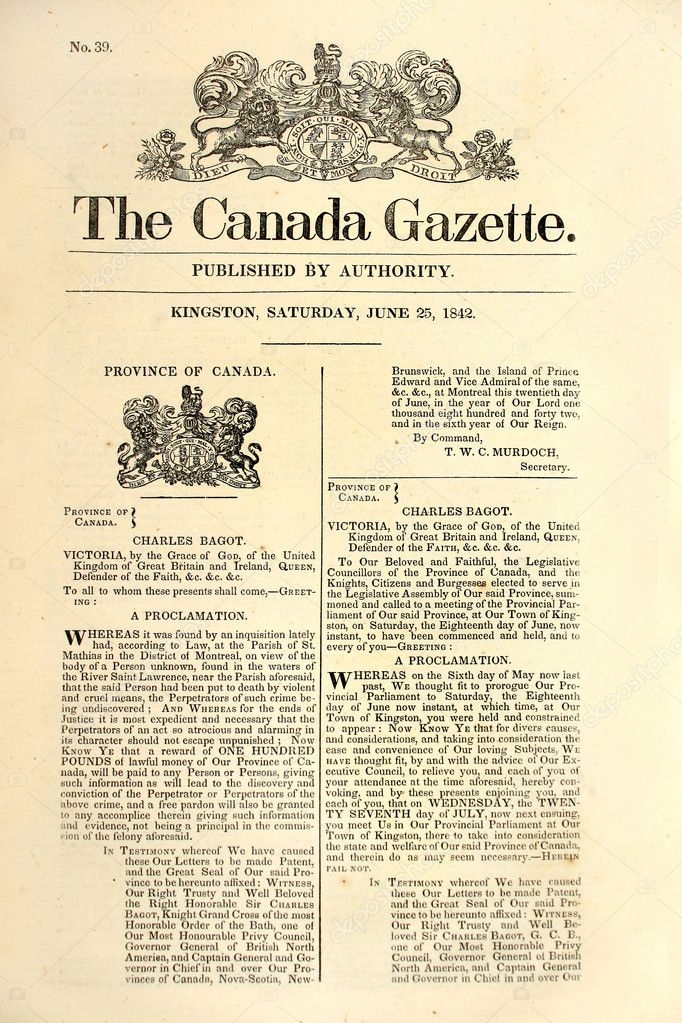 Front page of an early Canadian newspaper dated 1842. — Stock fotografie #2323014