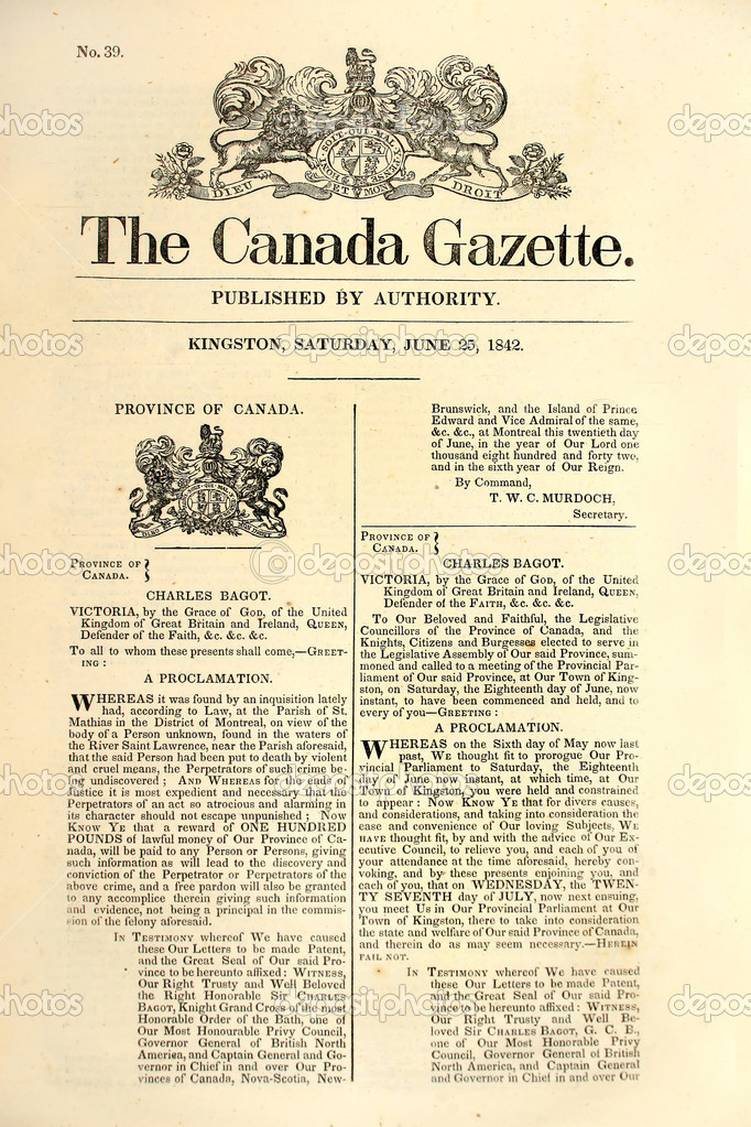 Front page of an early Canadian newspaper dated 1842. — Stok fotoğraf #2323014