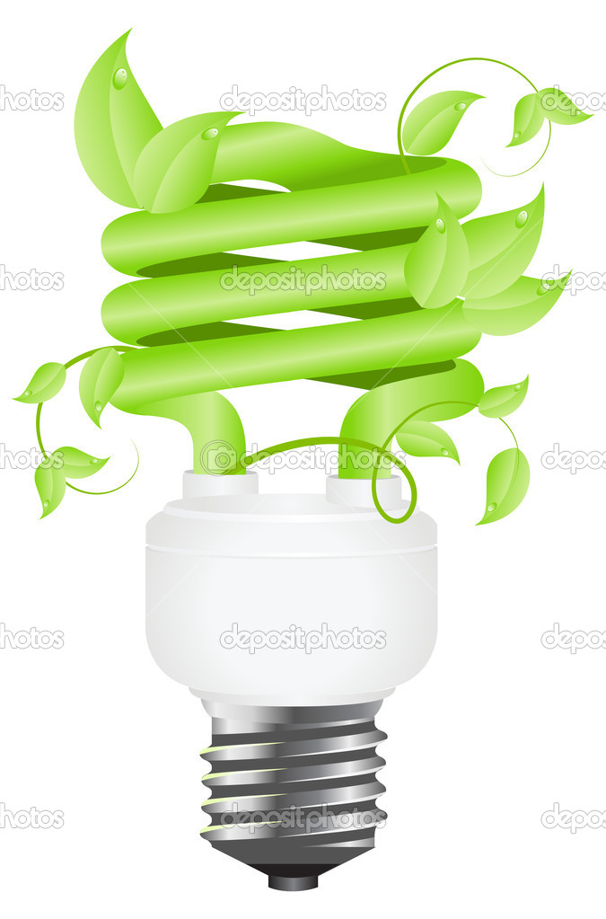 Green light floral bulb with leafs. Isolated on white background. Vector illustration. — Stock Vector #2054083