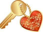 Heart symbol and key — Wektor stockowy
