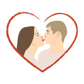 Two lovers kissng — Stock Vector