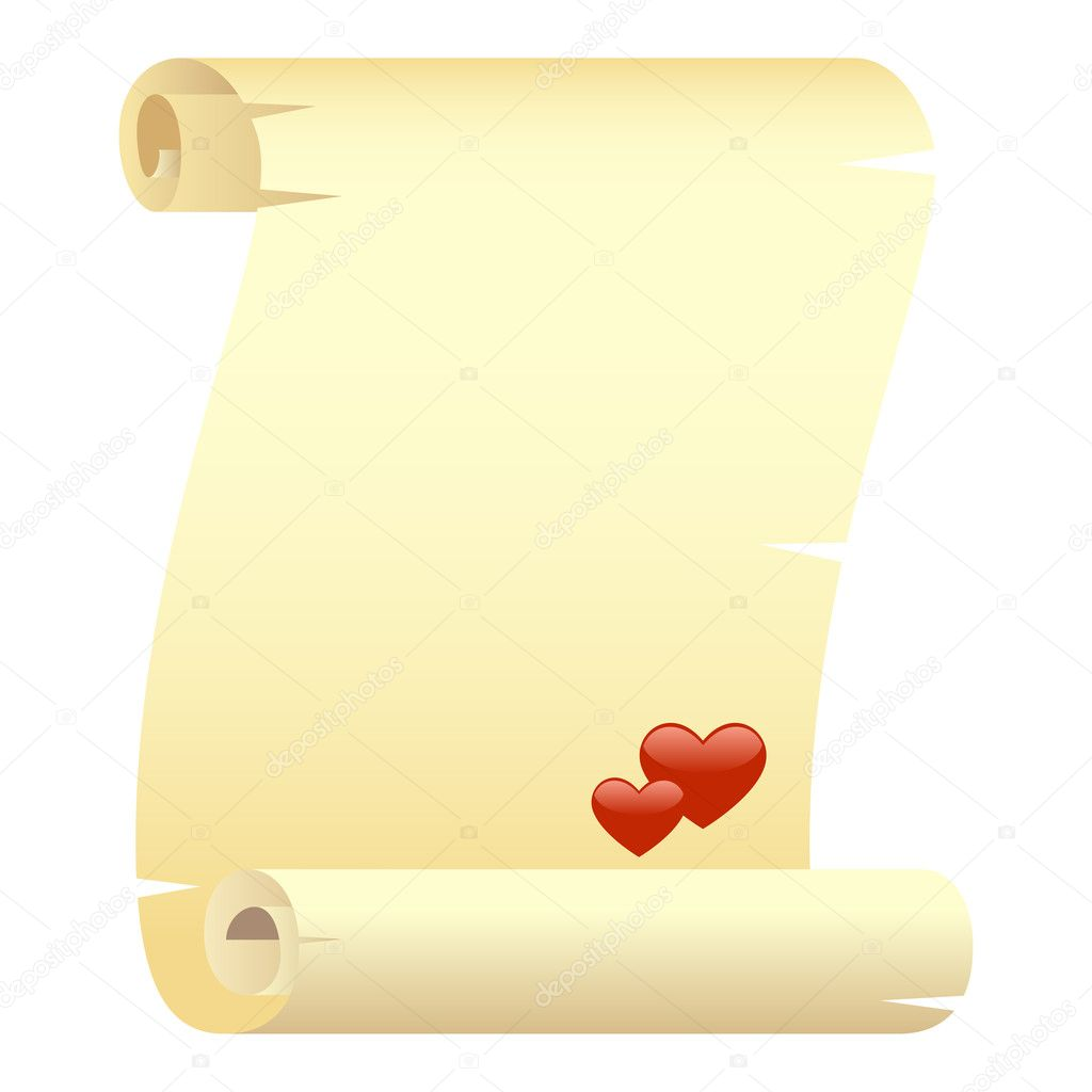Scroll with two hearts. Isolated on a white. Vector illustration — Stock Vector #2088427
