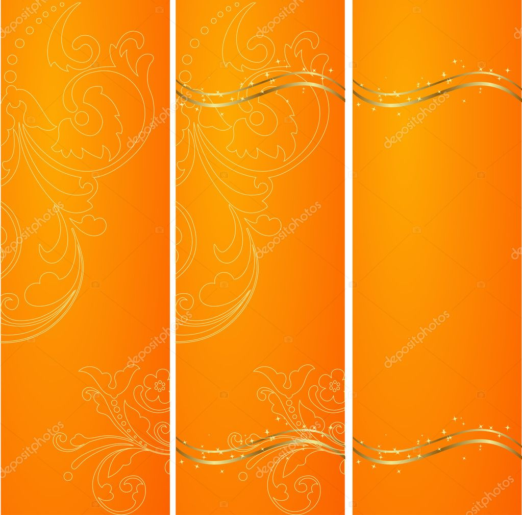 Three vertical ornated orange and gold Christmas or New Year backgrounds  Stock Vector #2579549