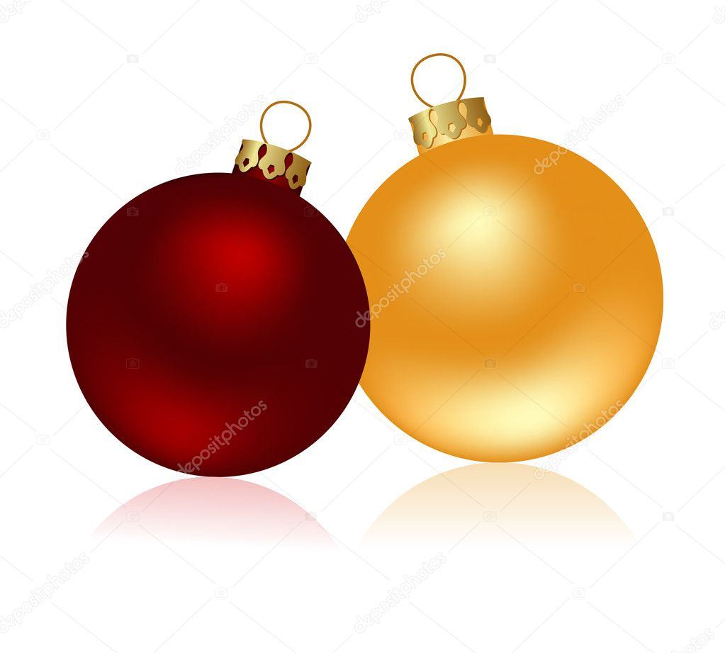 Two christmas glass balls isolated on a white. Vector illustration. — Stock Vector #2624268
