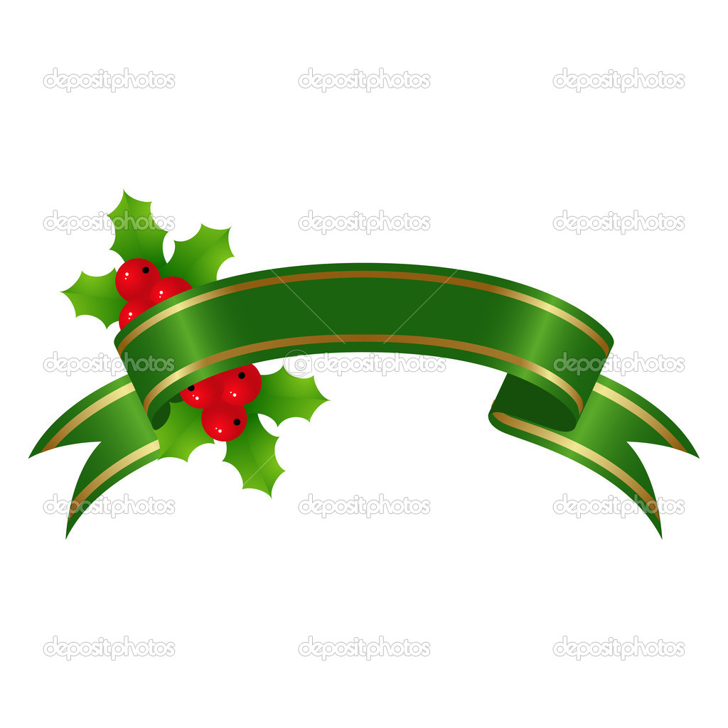 Green banner with holly for christmas decoration. Vector illustration. — Stock Vector #2624272