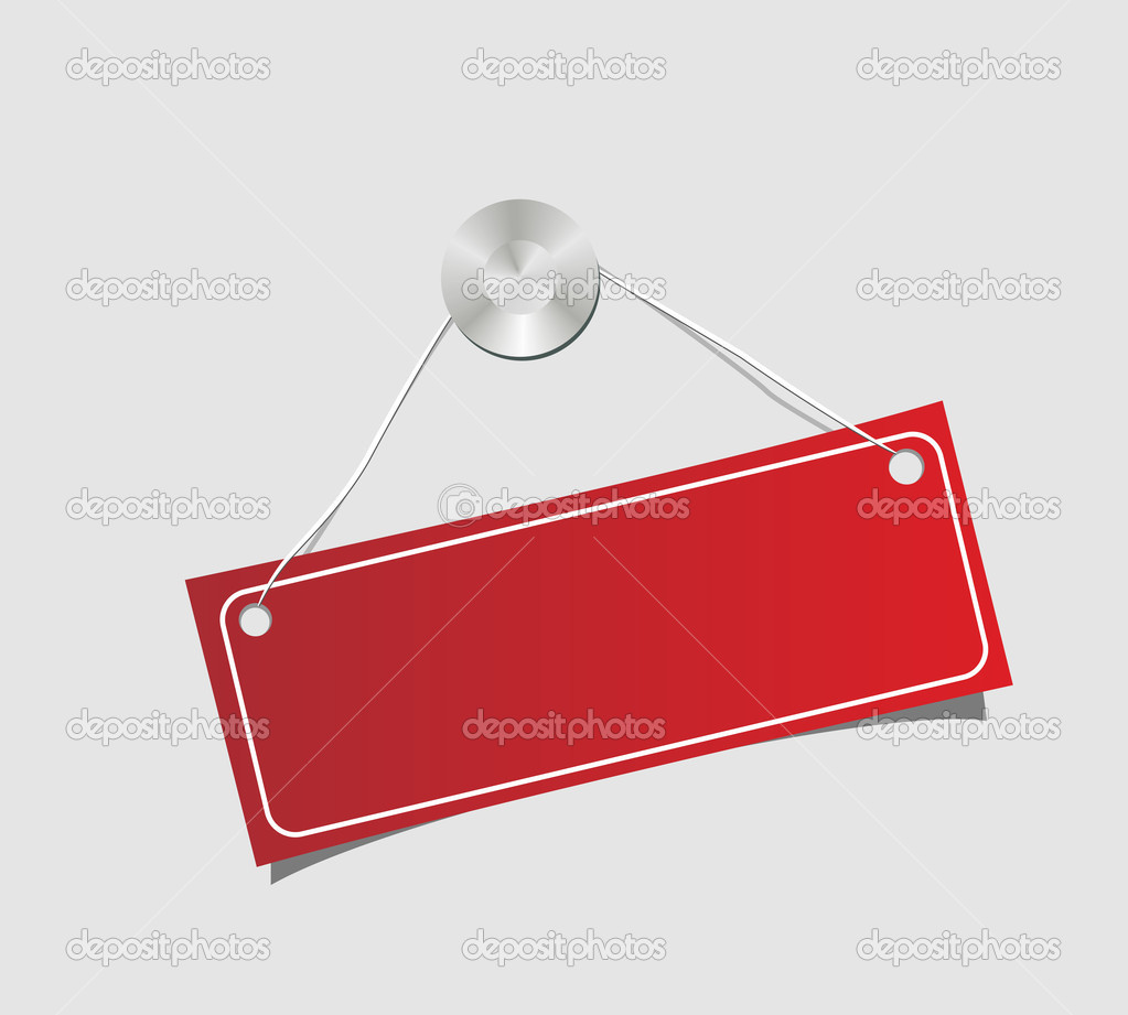 The label dangling on a nail. Vector illustration. isolated on a white — Stock Vector #2625073