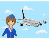 The young stewardess in blue clothes costs near the plane — Stock Vector