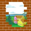 The broken brick wall — Stock Vector