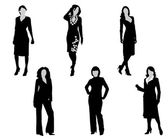 Black silhouettes of the women on a white background — Stock Vector