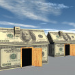 3D rendered street of money made houses — Stock Photo