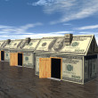 3D rendered street of money houses — Stock Photo